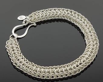 Handmade Sterling Silver Persian Dragonscale Bracelet