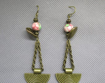 Bronze stone earrings with jade.