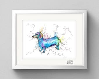 Dachshund Watercolour Print