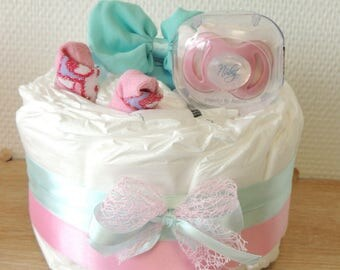 Girl diaper cake pretty hearts