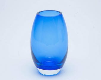 Vintage glass vase, 1960's blue glass vase, blue vase, retro blue vase, vintage glass vase, retro vase, vintage glassware,glass vase