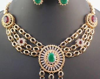 Sale,indian wedding bridal fashion zircon crystal rhimestone necklace set