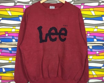 Rare!! Vintage LEE Sweatshirt Big Logo Large Size Red Colour Crewneck