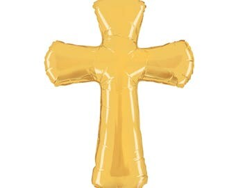 Gold Cross Balloon, Christian Cross Balloon, Baptism Balloon, Christening Balloon, Cross Shaped Balloon, Religious Balloon