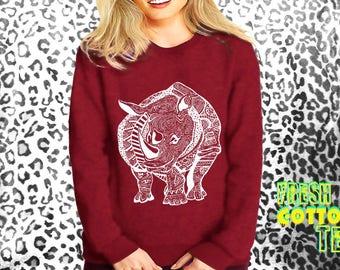 Tribal rhino- sweatshirt eco cotton blend