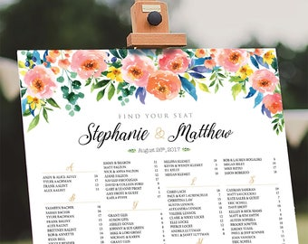 Wedding Seating Chart Poster, Wedding seating chart alphabetical, Wedding Seating Chart, Wedding sign - US_WC1205