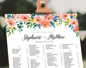 Wedding Seating Chart Poster, Wedding seating chart alphabetical, Wedding Seating Chart, Wedding sign - US_WC1205
