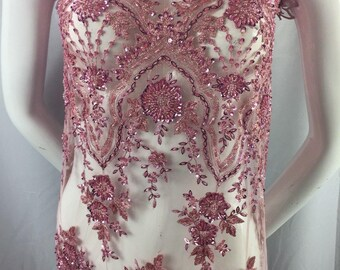 Dusty Rose Embroidered Beaded Fabric - Lace Heavy Beads For Bridal Veil Flower-Floral Mesh Dress Top Wedding Decoration By The Yard