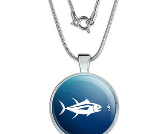 """Tuna Fish Fishing Fisherman 1"""" Pendant with Sterling Silver Plated Chain"""