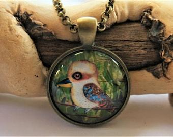 kookaburra art pendant, kookaburra necklace, art pendant, original art, art pendant necklace, Australian animals