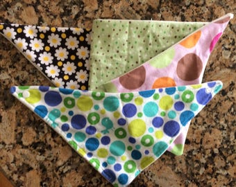 Bandana Bibs--Organic Bamboo and Cotton Flannel