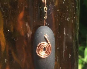 Maine Beach Stone with Copper Spiral