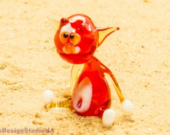 Glass figurine Сat glass figurines glass animals gift for her blown glass blowing murano glass sculpture home decor lampwork handmade gift