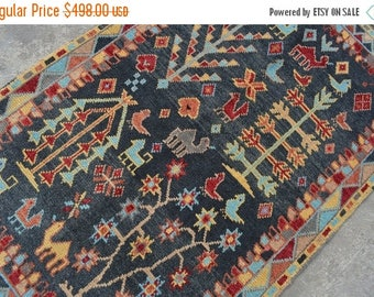 Big sale 4'8 x 3 FT Oriental Decor.  Ersari Rug, Unique Hand Knotted Afghan Turkoman Carpet, Tree Of Life rug, Pictorial rug
