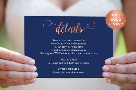 Details Reception Card - Wedding Details Card - Printable Details Card Template - Navy and Rose Gold - Downloadable wedding #WDH657DT280