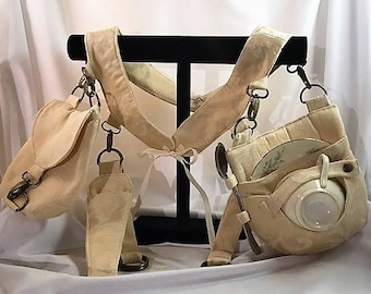 Ivory Jacquard Under Corset Belt/Teacup Holster Set- Belt Made to Fit-Ready to ship in 3-5 days! Steampunk, Victorian, Mad Hatter, Tea Party
