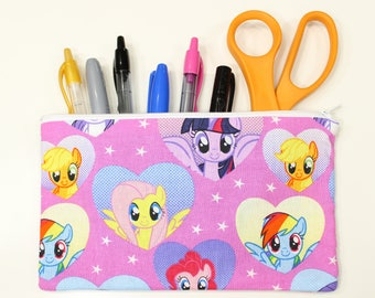 My Little Pony Fabric Pencil Pouch – My Little Pony Fabric Bag – My Little Pony Make Up Pouch – MLP Fabric Pencil Pouch – MLP Fabric Bag