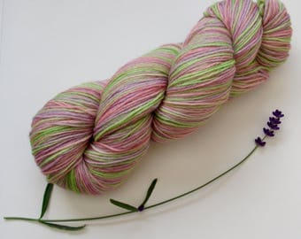 Self Striping 4ply Sock Yarn in Pink, Purple, and Green 100g Skein Pure Wool