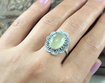 Natural Prehnite Ring, Punk Style , 925 Sterling Silver Ring,, Birthday and holiday Gift Ring Size: US 6 3/4 J223