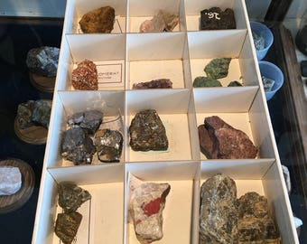 Box collection with 12 rocks minerals
