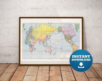 Digital Old World Map 1944 Download Vintage World Map Large World Map