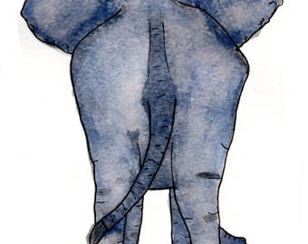 Elephant Behind Watercolor Print