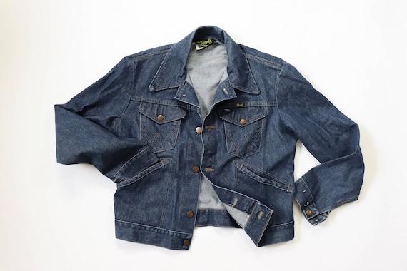 Vintage Retro Men's 70's Wrangler Jean Jacket Khaki Tan 14oz Plus Denim Jacket Sanforized Small 38 Womens Medium Made in the USA DWMNVSefRh
