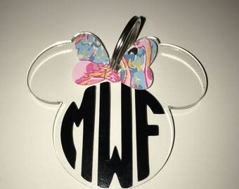 Minnie Mouse monogramed keychain lilly pulitzer inspired