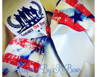 Remember Our Heroes Memorial Day Veterans Day Military Cheer Bow