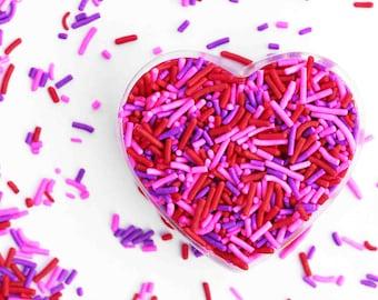 Valentine Spring Crunchy Jimmies Mix, Pink, Red, and Purple, Crunchy Sprinkles, Edible Sprinkles, Cake Sprinkles, Fancy Sprinkles