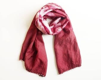 Shibori Silk Scarf - Deep Raspberry