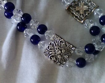 Blue and Crystal Stretch Bracelet