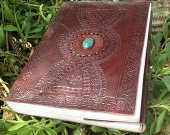 Leather Journal - Handmade Leather Sketchbook - Leather Guest Book - Medieval Journal - Drawing Leather Journal - Turquoise Stone Book