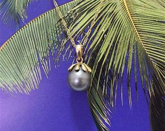 Tahitian Pearl Pendant, 14KT Yellow Gold Tahitian Pearl Pendant, P5055,  Made in Hawaii