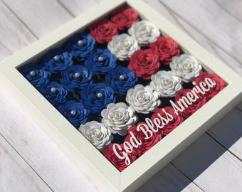 USA Flag Wall Art - American Flag Wall Art - Patriotic Wall Art - Patriotic Decoration - American Flag Frame - Shadow Box Frame - 3d flowers