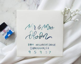Wedding Envelopes with Watercolor Calligraphy //  Hand Lettered Wedding Envelopes, Watercolor Envelopes, Wedding Calligraphy