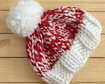 Red and White Christmas Chunky Knit Beanie Hat Pom Pom - Newborn, Baby,Toddler, Child