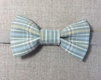 PLAID BOW TIE - Cotton plaid bow tie, pale blue and green plaid bow tie