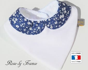 Liberty blue and white Peter Pan collar bandana bib