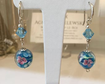 Silver earrings with blue murano glass