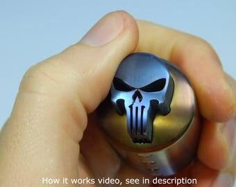 Skull clicker fidget, edc fidget toy, Titanium, rainbow anodized. Every day carry gift