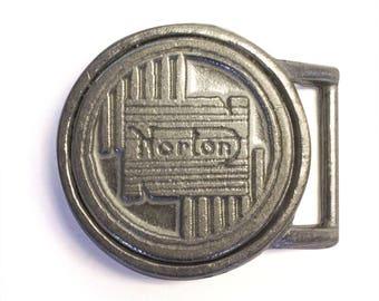 Norton Round Logo Motorcycle Belt Buckle - Cast Metal British Motorcycle Belt Accessory (19-00030)