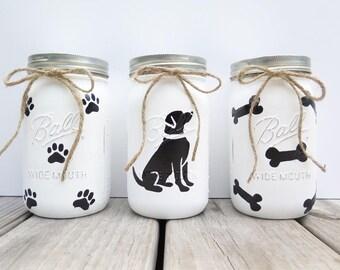Dog treat jar-Mason jar dog treat jar-painted dog treat jar-bone dog treat jar-paw print dog treat jar- lab dog treat jar