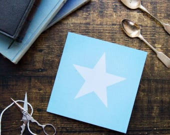 Blank art card//photo card//White star on blue card, art card, birthday card, occasion card, frameable print, thank you card, star picture