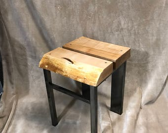 Live edge Spalted Maple and patina'd steel stool.