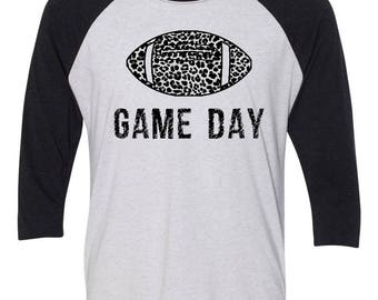 Game Day, Cheeta Football Baseball Style 3/4 Sleeve-Multiple Color Options