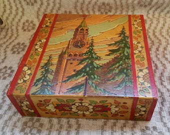 Vintage multicolor wooden box / case / coffret whit view of  Moskow Kremlin