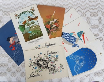 Set of eight vintage  postcards, vintage art postcards, collectible postcard,  souvenir of various family feast-day / holiday without text