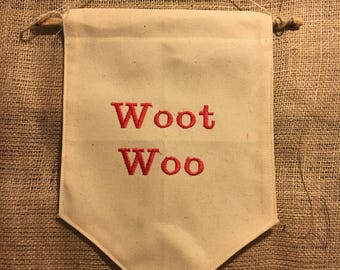 Woot Woo - Embroidered Wall Hanging - Custom Colours
