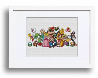 Mario characters Nintendo, Princess Peach, Bowser, Luigi, Wario, Waluigi, Toad, Goomba, Yoshi, Boo (Cross stitch embroidery pattern pdf)